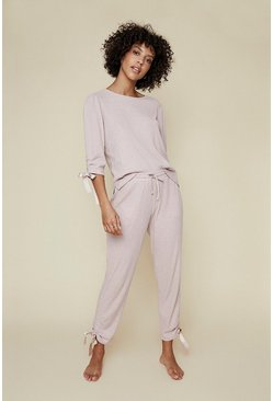 Pale pink Cosy Rib Ruch Jogger