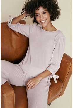 Pale pink Cosy Rib Ruch Sleeve Top