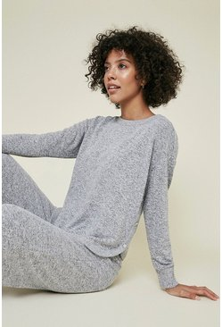 Grey Cosy Button Detail Sweat