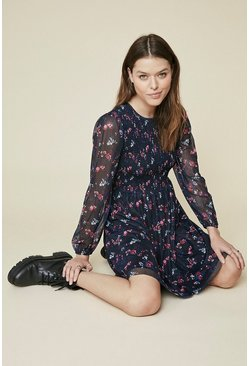 Navy Printed Mesh Shirred Skater Dress