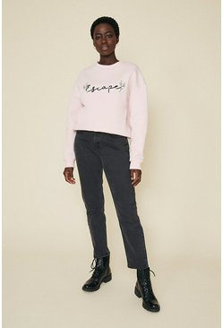 Pink Escape Embroidered Sweatshirt