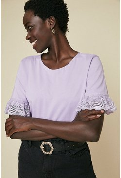 Mauve Lace Sleeve T Shirt