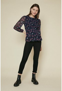 Navy Printed Mesh Shirred Top
