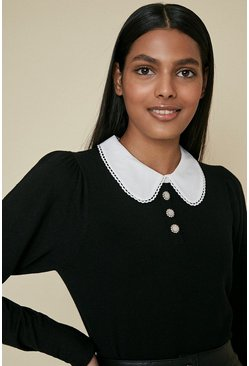 Black Crystal Button Collared Jumper