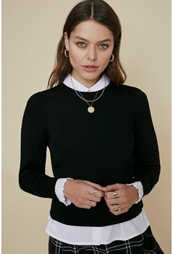 Black Basic Crew Jumper