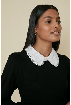Black Collared Knitted Top