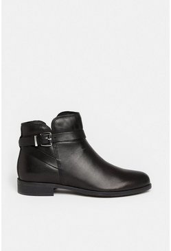 Black Leather Chelsea Buckle Ankle Boot