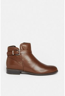 Tan Leather Chelsea Buckle Ankle Boot