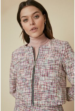 Multi Tweed Zip Through Jacket