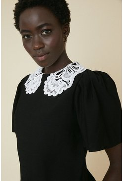 Black White Lace Collar Plain Top