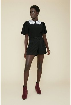 Black Belted Plain Short