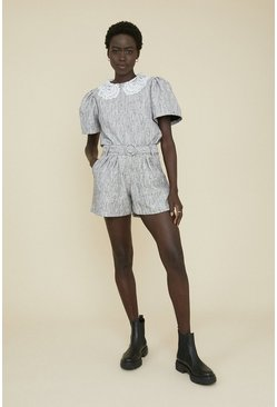 Multi Tweed Belted Detail Short
