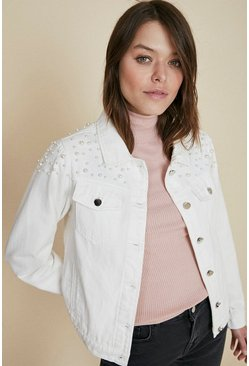 White Pearl Denim Jacket
