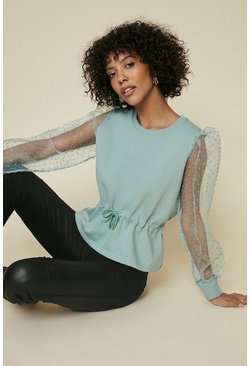 Sage Organza Sleeve Sweat