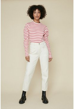 Coral Stripe Puff Sleeve Top