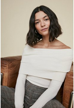 Ivory Off The Shoulder Jumper