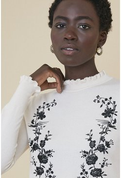 Ivory Embroidered Jumper