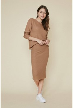 Camel Ribbed Co-ord Skirt