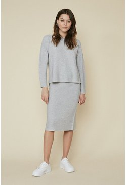Grey Ribbed Co-ord Skirt