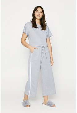 Grey marl Sparkle Taped Wide Leg Jogger