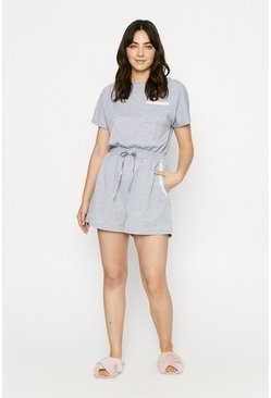 Grey marl Short Sleeve Lounge Taped Patch Pocket Playsuit