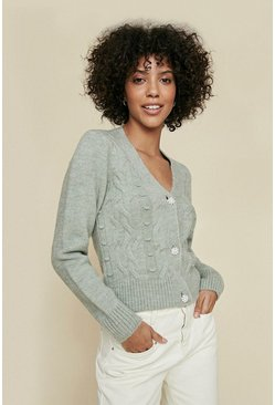 Sage Cosy Stitch Sparkle Button Cardigan