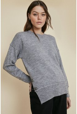 Grey Sparkle button longline cosy jumper
