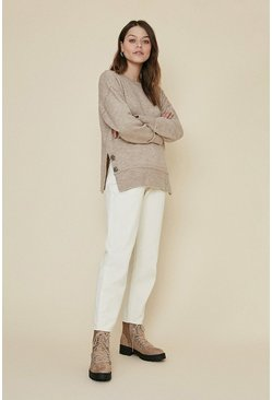 Oatmeal Sparkle button longline cosy jumper