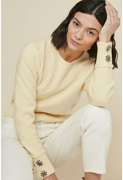 Lemon Cosy Button Cuff Jumper