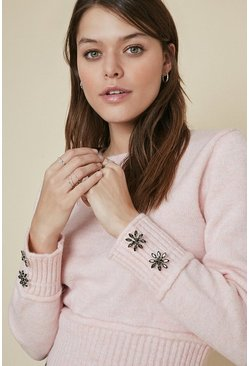 Pink Cosy Button Cuff Jumper