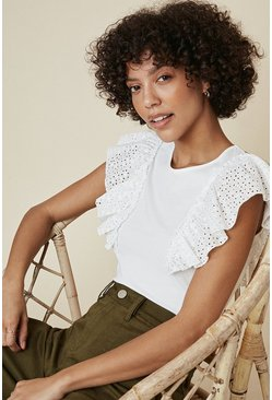 Ivory Broderie Ruffle T Shirt