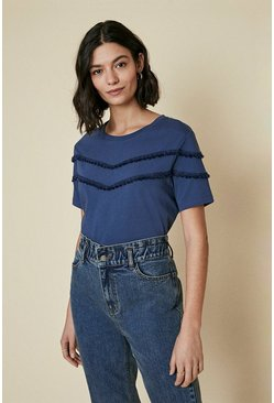 Blue Tassel Trim Tee