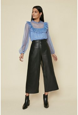 Blue Mesh Frill Yoke Top