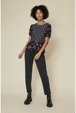 Black Patched Print Peplum Top