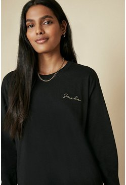 Black Smile Embroidered Long Sleeve Top