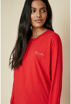 Red Smile Embroidered Long Sleeve Top