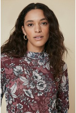 Wine Floral Printed High Neck Top