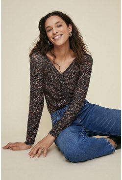 Multi V Neck Ruched Floral Printed Top