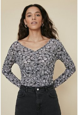 Black V Neck Ruched Printed Top