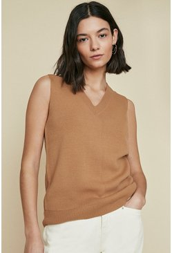 Brown Sleeveless V Neck Vest