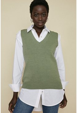 Green Sleeveless V Neck Vest