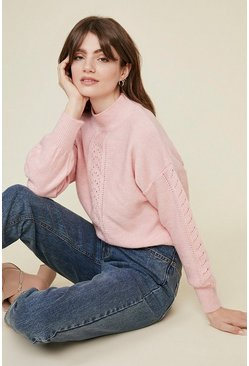 Pale pink Stitch Front Cosy Jumper