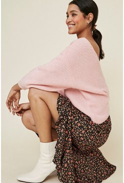 Dusky pink Cosy Rib Twist Back Jumper