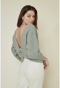 Mint Cosy Rib Twist Back Jumper
