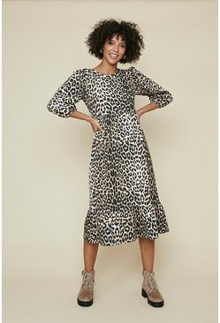 Textured Animal Printed Midi Dress