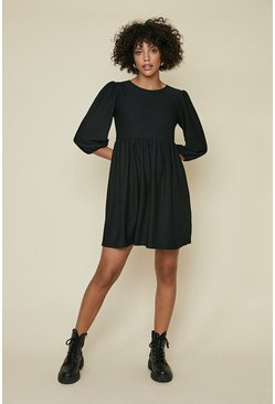 Black Textured Skater Dress