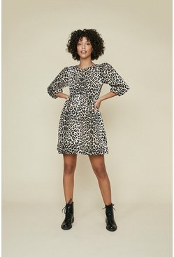 Textured Animal Printed Skater Dress