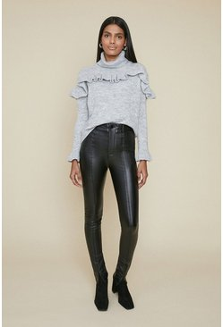 Black Seam Front Faux Leather Trousers