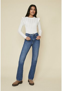 Off white Pointelle Frill Knit Jumper