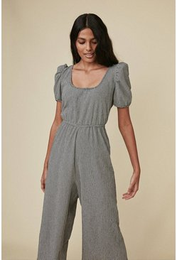 Blackwhite Check Scoop Neck Jumpsuit